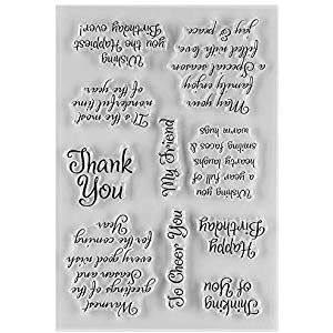 MaGuo Thank You and Friend Phrase Clear Rubber Stamps for DIY Scrapbooking Paper Craft or Card Making Decoration