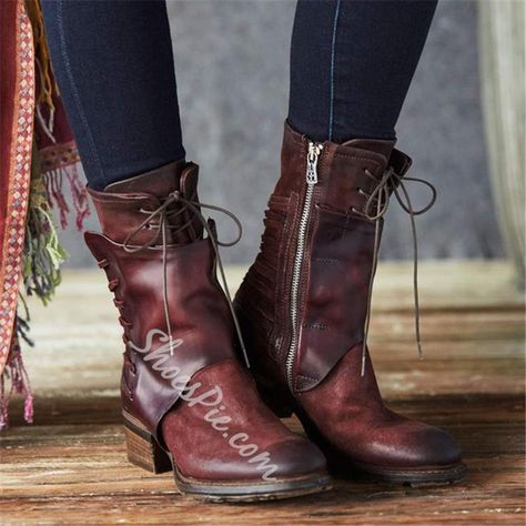 978c58dd54 Shoespie Sexy Side Zipper Round Toe Lace-Up Ankle Boots