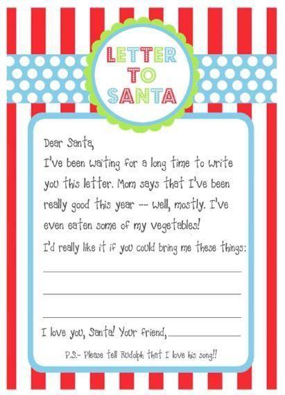 Kids Free Printable Santa Wish Letters Craft Idea
