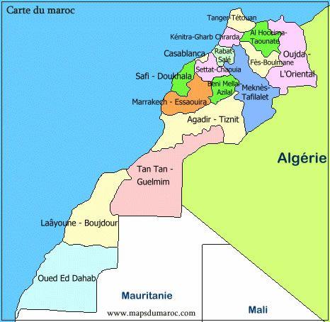 خريطة مناطق المغرب Carte Maroc Carte Des Regions Maroc