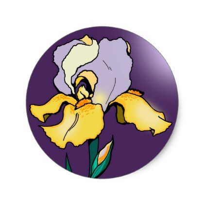 Nighttime Iris Flower Cute Classic Round Sticker Zazzle Com Iris Flowers Cartoon Flowers Purple Flowers