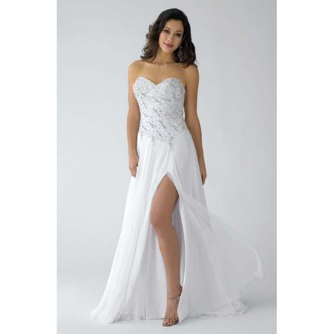 Strapless long white sequinprom dress for 2012 hipron18