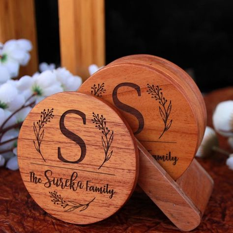 Family Name Coasters: Monogram Coasters - Wooden Coaster Set With Holder - Birch