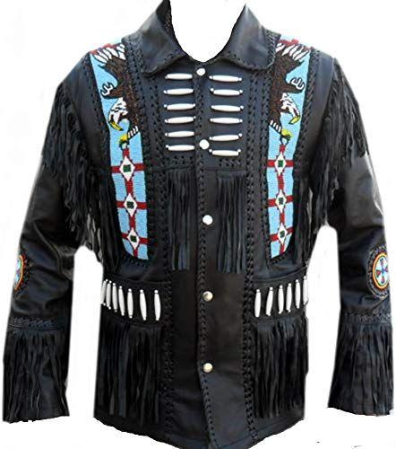 Classyak Mens Western Cowboy Fringed /& Boned Real Leather Jacket