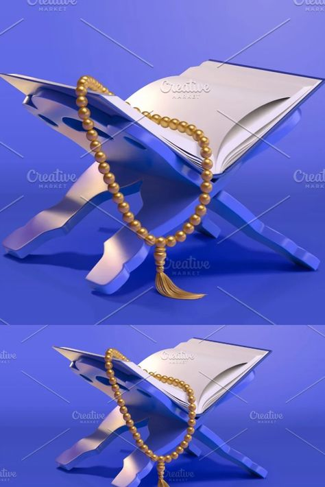 3d Quran or Bible on book holder