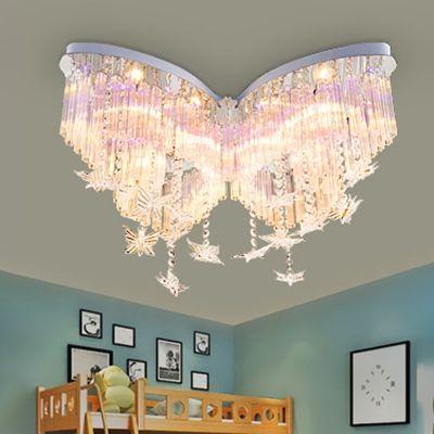 Butterfly Led Chandelier Girls Bedroom Hanging Crystal Flush Mount Light In White Girls Room Chandelier Crystal Chandelier Bedroom Kids Chandelier