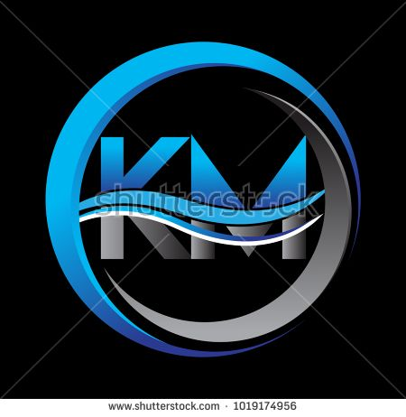 Initial Letter Logo Km Company Name Blue And Grey Color On Circle