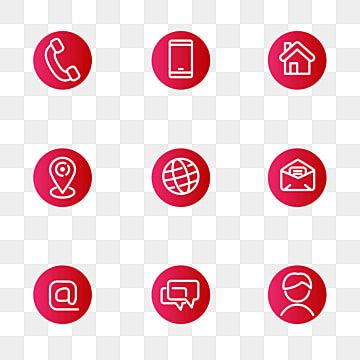 Set Of Contact Related Icons In Round Shape And Red Color Icon Phone Contact Png And Vector With Transparent Background For Free Download In 2021 Gift Vector Restaurant Icon Website Icons