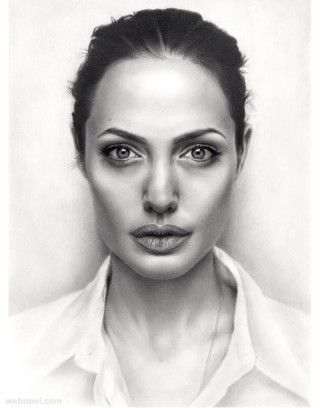 portrait drawing angelina jolie sikoian