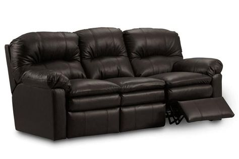 Touchdown Transitional Black Leather Double Reclining Sofa