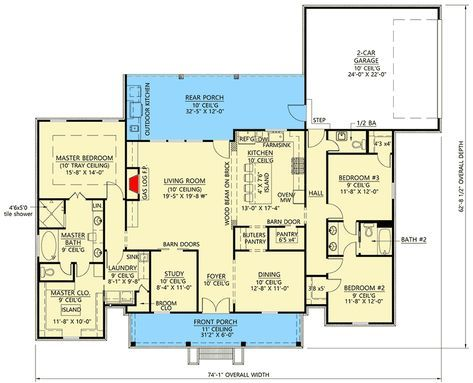 Plan 56437sm Modern Farmhouse Plan With Private Master Suite Acadian House Plans Dream House Plans Modern Farmhouse Plans