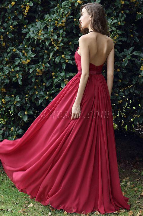07e011785f36 eDressit Burgundy Pleated Halter Formal Evening Dress (00170317)
