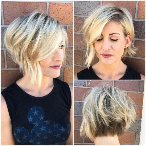 Inverted Blonde Textured Bob With Side Swept Bangs And Shadow Roots Short Hair With Layers Short Messy Haircuts Hair Styles