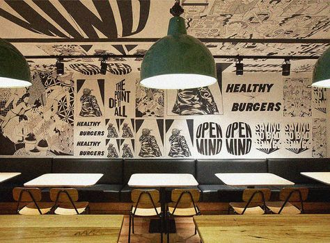 Australian Fabio Ongarato refreshed decor of the restaurant Grill'd burgers. Fabio Ongarato Design (FOD) was created for the interior of the
