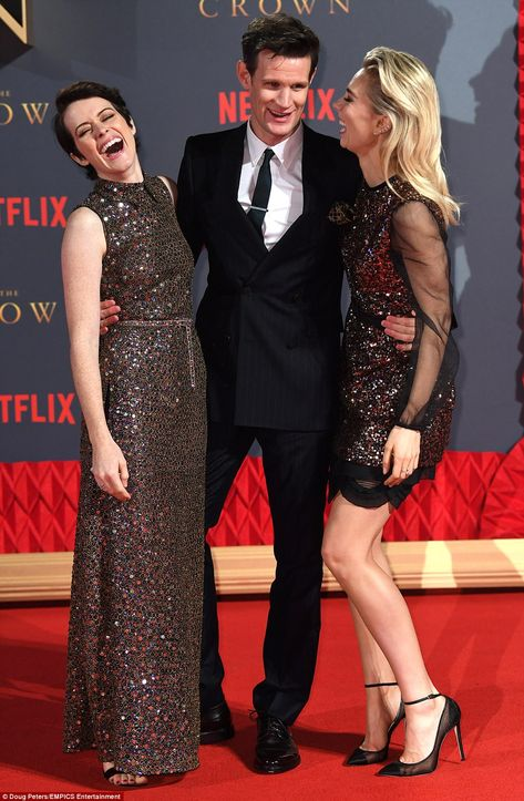 Dream team: The duo later joined co-star Vanessa Kirby, who plays Princess Margaret on the series, for a number of playful shots ahead of the second season's debut on December 8