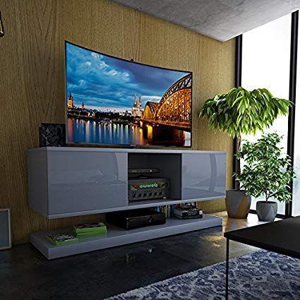 Tv Wizz Meuble Tv Moderne 140 Cm Gris Meuble Tv Moderne Meuble Tv Meuble Tv Suspendu