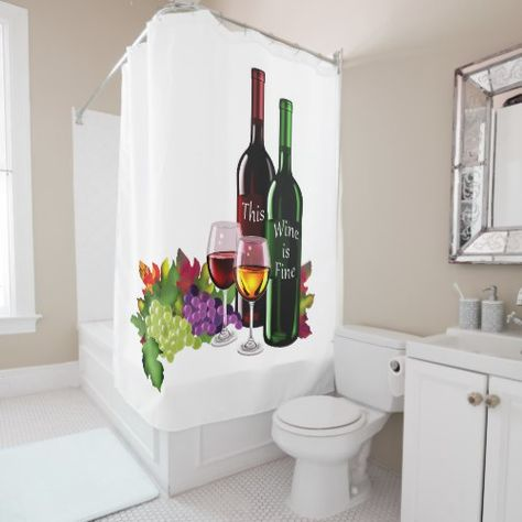 Bottles Of Fine Wine And Elegant Wine Glasses Shower Curtain