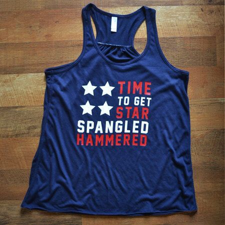 Women's 'Star Spangled Hammered' Racerback Flowy Tank by MadJoApparel. Great for Summer BBQs, Memorial Day, White Trash Party, Beer Olympics or 4th of July!