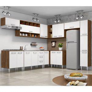 Cozinha Modulada 10 Pecas Milena 2712 Marrom Branco Milani