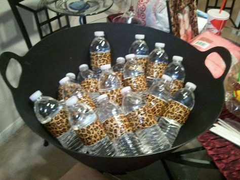 Water bottles wrapped in leopard duct tape- Liz's party