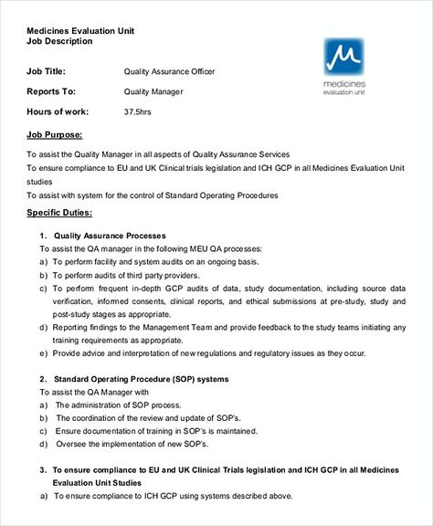 Quality Assurance Officer Job Description , Quality Assurance - quality assurance resume