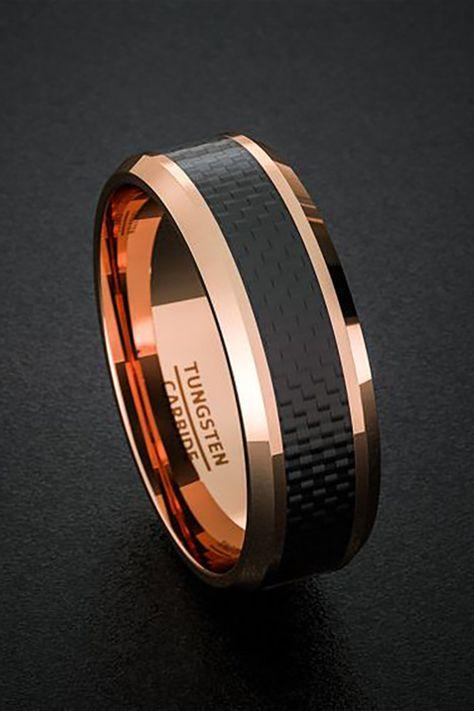 mens wedding bands black carbon rose gold polushed ring tungsten wedding bands