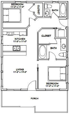 24x32 House 2 Bedroom 2 Bath Pdf Floor Plan 768 Sq Ft Model 1c Tiny House Floor Plans Small House Plans Tiny House Plans