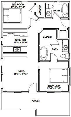 24x32 House 2 Bedroom 2 Bath Pdf Floor Plan 768 Sq Ft Model 1c Tiny House Floor Plans Tiny House Plans Small House Plans