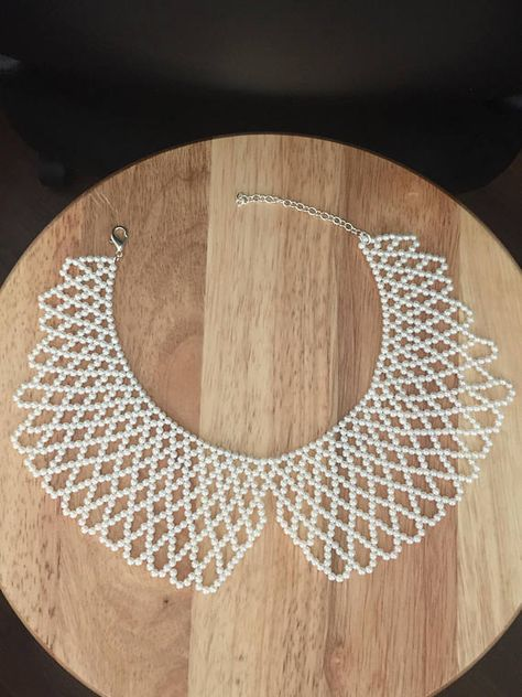 Pearl beaded bib necklace ***Available in any color by request**** please allow 48 hour processing time and 2 day shipping ****