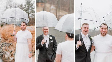 We love first looks, but we love first look pranks even more! Chris was pranked at his lakeside wedding in NJ | Rock Island Lake Club | Sparta, NJ  #RockIslandLakeClub #NJweddingvenue #NJwedding #wedding #weddingvenue #wedding #firstlook #firstlookprank #weddingfirstlook #outdoorwedding #lakesidewedding #groom #brideandgroomfirstlook #weddingideas #weddinggoals #bride #bridetobe #engaged #pinterestwedding #weddingtips #NJbride #weddingdiy #nature #rainy #lakefrontwedding #friendgoals
