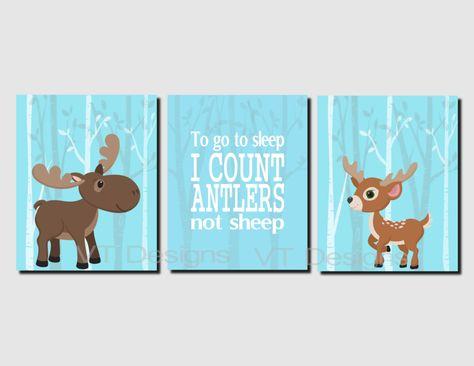 Baby Boy Nursery Decor, Toddler Boys Wall Art, Moose Decor, Deer Decor, Woodland Decor, Printable, Set of 4, To Go To Sleep I Count Antlers by VTDesignsPrintables on Etsy