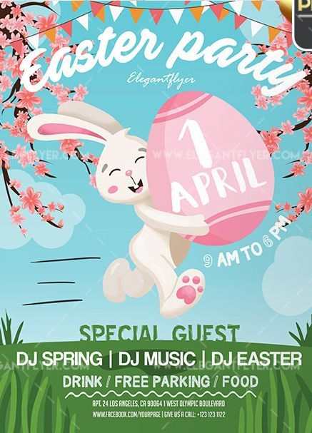 Easter Party Free Flyer Psd Template In 2020 Easter Poster