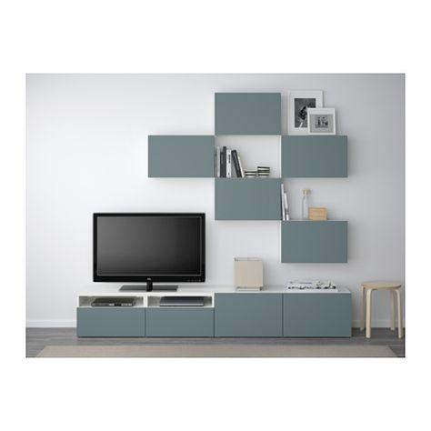 BESTÅ Combinaison meuble TV - blanc/Valviken gris turquoise, glissière tiroir, fermeture silence - IKEA