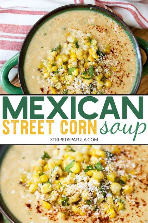 Mexican Street Corn Soup If you love Mexican Street Corn, you'll love this easy soup recipe! Mexican Street Corn Soup uses all of the classic flavors of eltotes—cotija cheese, cilantro, sour cream, and lime—in a creamy summer soup. Easy Soup Recipes, Healthy Recipes, Healthy Meals, Mexican Food Recipes, Crockpot Recipes, Cooking Recipes, Healthy Chicken, Summer Soup Recipes, Potato Recipes