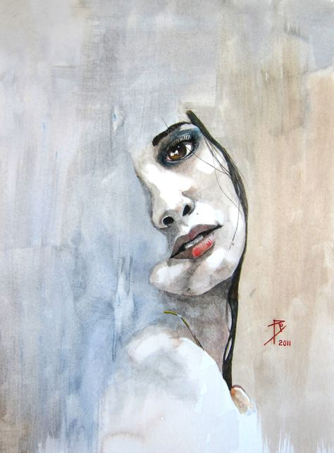 """Saatchi Online Artist: Ray Domnic; Watercolor, 2011, Painting """"Beth"""""""