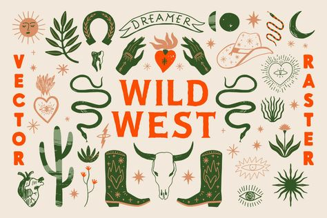 Wild West Bundle by Annie Konst on Graphic Design Illustration, Illustration Art, Wall Collage, Wall Art, Buy Images, Sales Image, Wild West, Retro, Art Inspo