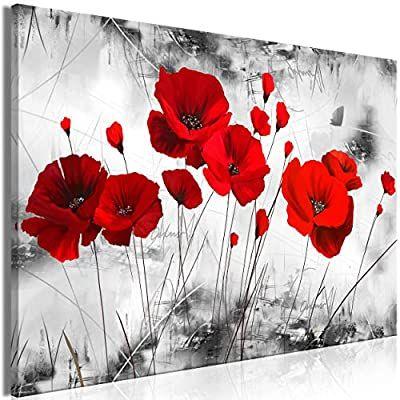 Decomonkey Bilder Blumen Mohnblumen Rot 100x45 Cm 1 Teilig Leinwandbilder Bild Auf Leinwand Vlies Wandbild Kuns Abstract Art Painting Poppy Design Art Painting