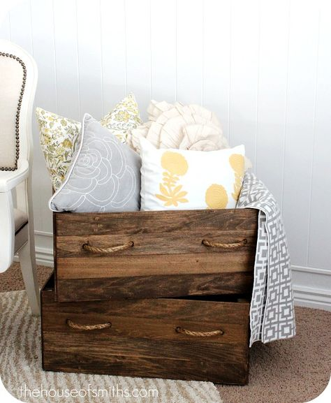 How to replicate vintage crates for throw pillow storage.
