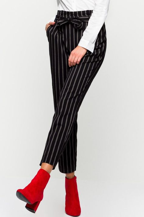 Frauen Hosen Pluderhosen gestreiften Pantalon Baumwolle Leinen Stilvoll Mode
