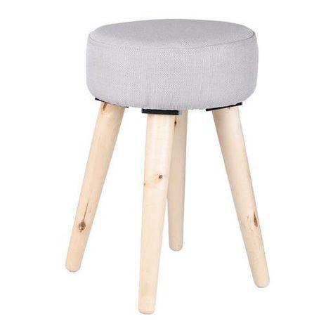 Tabouret Design Avec Pieds En Bois Bouleau Tissu D28 X H44 Cm Gris Tabouret Design Tabouret Mobilier De Salon