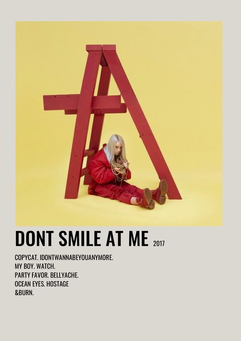 DONT SMILE AT ME BILLIE EILISH Alternative Minimalist Music Album Poster