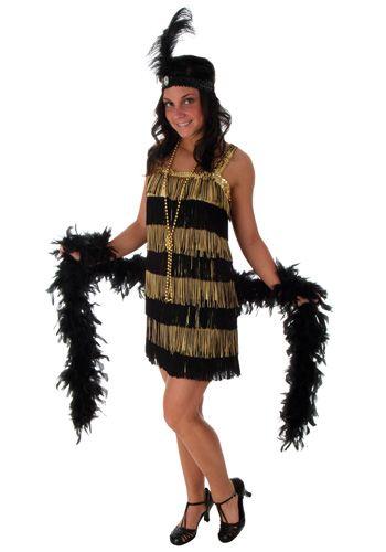 Fringe gold flapper costume jazz flapper dress