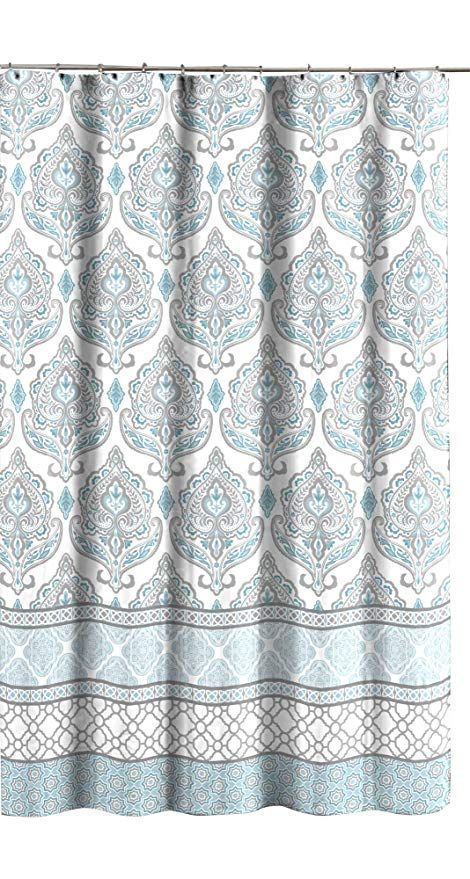 C H D Home Teal Grey White Canvas Fabric Shower Curtain Floral Damask With Geometric Border Design With Images Fabric Shower Curtains Patterned Shower Curtain