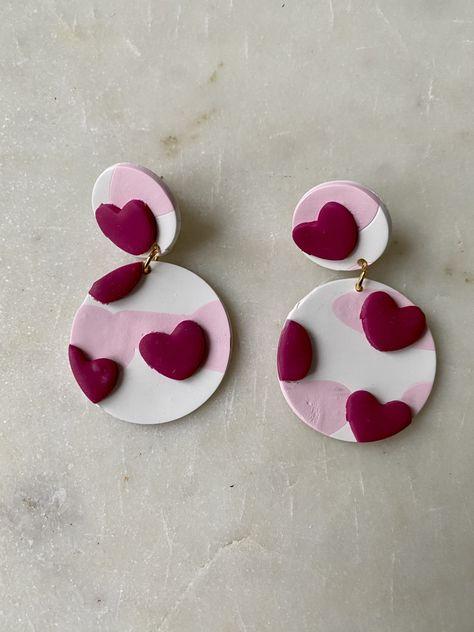 Handmade heart circle clay earrings
