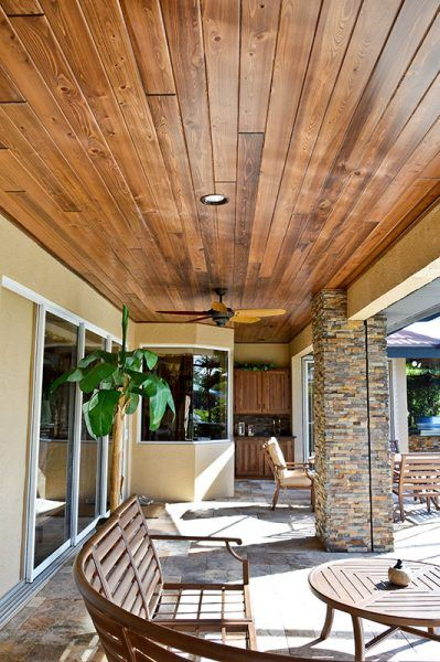 Outdoor Living Cypress Wood Ceiling And Stone Wooden Ceiling Design Wood Ceilings Wood Patio