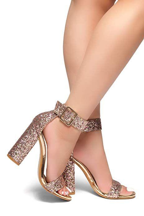 ebc2830703e5c Herstyle Women's Rumors-Glitter, Chunky Heel, Ankle Strap Gold Glitter 9  #accessories