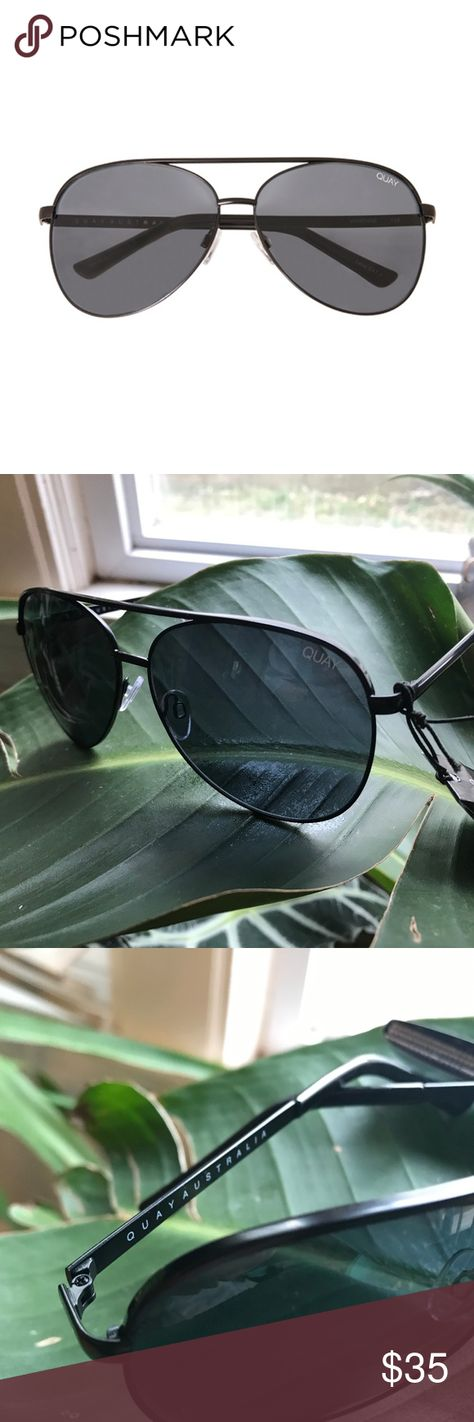 "05e3a1834d QUAY AUSTRALIA Vivienne in ""Black Smoke"" These oversized aviators feature a  black metal"
