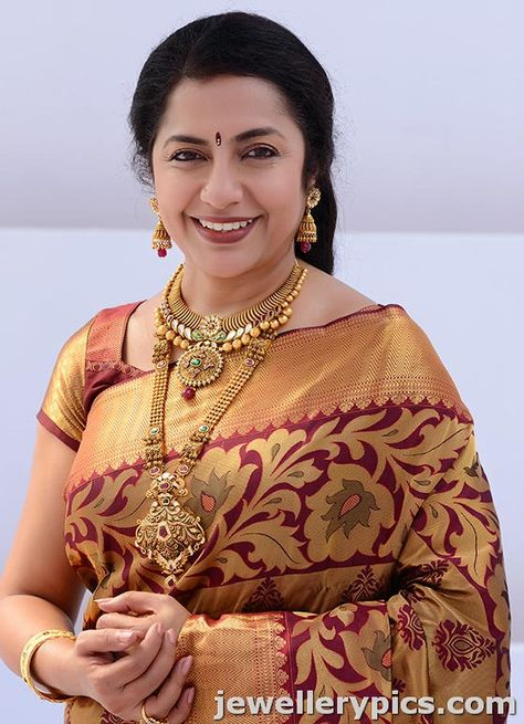 Actress Suhasini gold antique necklace set and saree photoshoot for CMR - Latest Jewellery Designs
