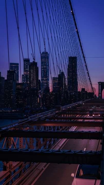 Download Iphone Xs Iphone Xs Max Iphone Xr Hd Wallpapers Bridge City Twilight Buildings Skyscr New York Wallpaper City Aesthetic Brooklyn Bridge New York