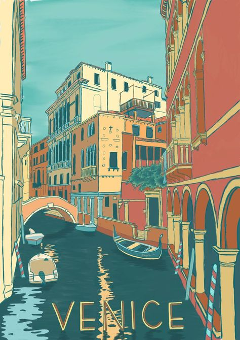 View of canal in Venice, Italy Art Print by katezibas Posters Paris, Posters Decor, Art Deco Posters, Wall Posters, Kunst Poster, Poster S, Poster Prints, Poster City, Posters Disney Vintage